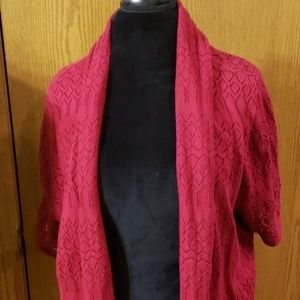 Cj banks burgandy wine red waterfall cardigan knit